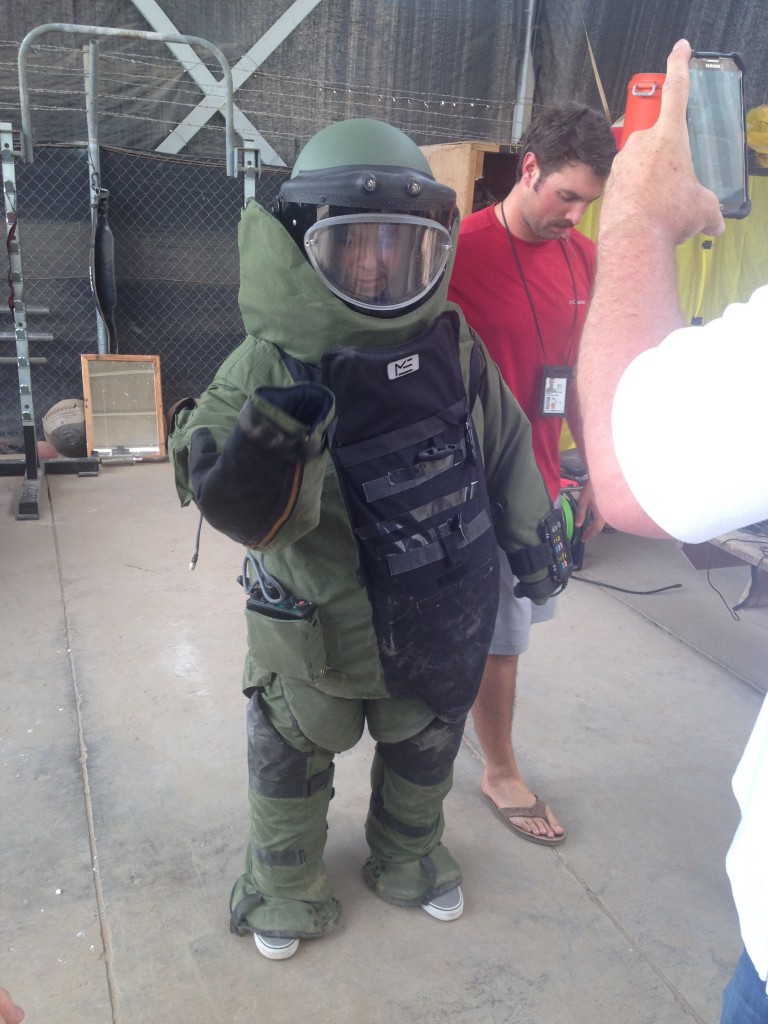 The bomb suit was a little big on me